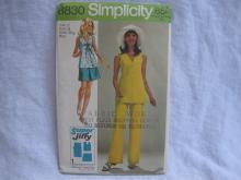 New Vintage Simplicity 8830 Super Jiffy Mini Skirt, Overblouse & Pants Sewing Pattern Misses' 12 1970