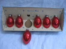 Set Of 6 Red Glass Teardrop Paragon USA Christmas Tree Ornaments
