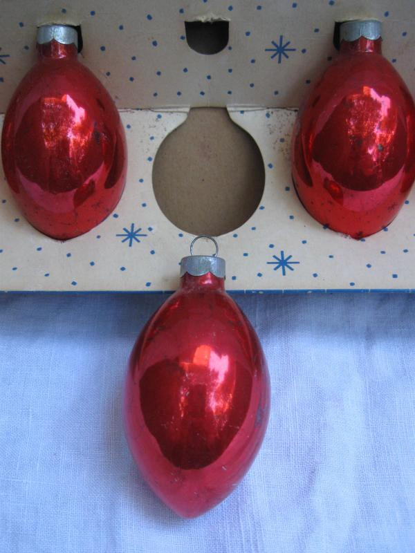 Set Of 6 Red Glass Teardrop Paragon USA Christmas Tree Ornaments