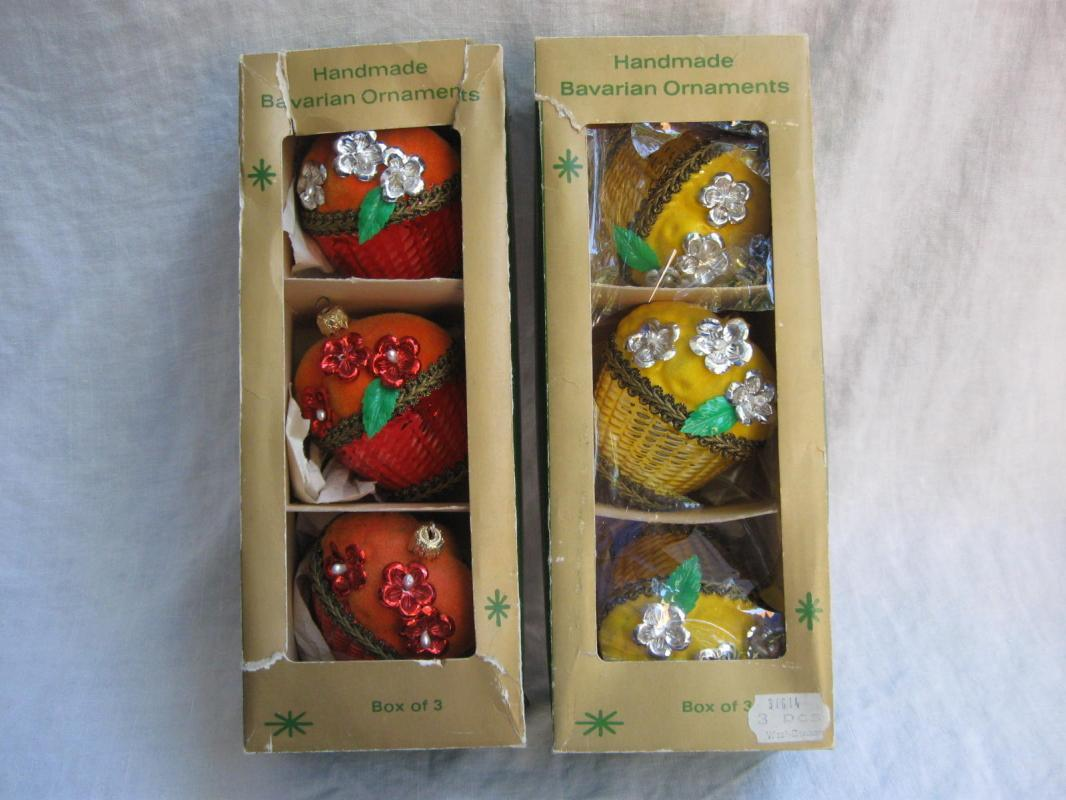 6 Vintage  Orange & Lemon Yellow Christmas Fruit  Basket Ornaments In Orignal Boxes