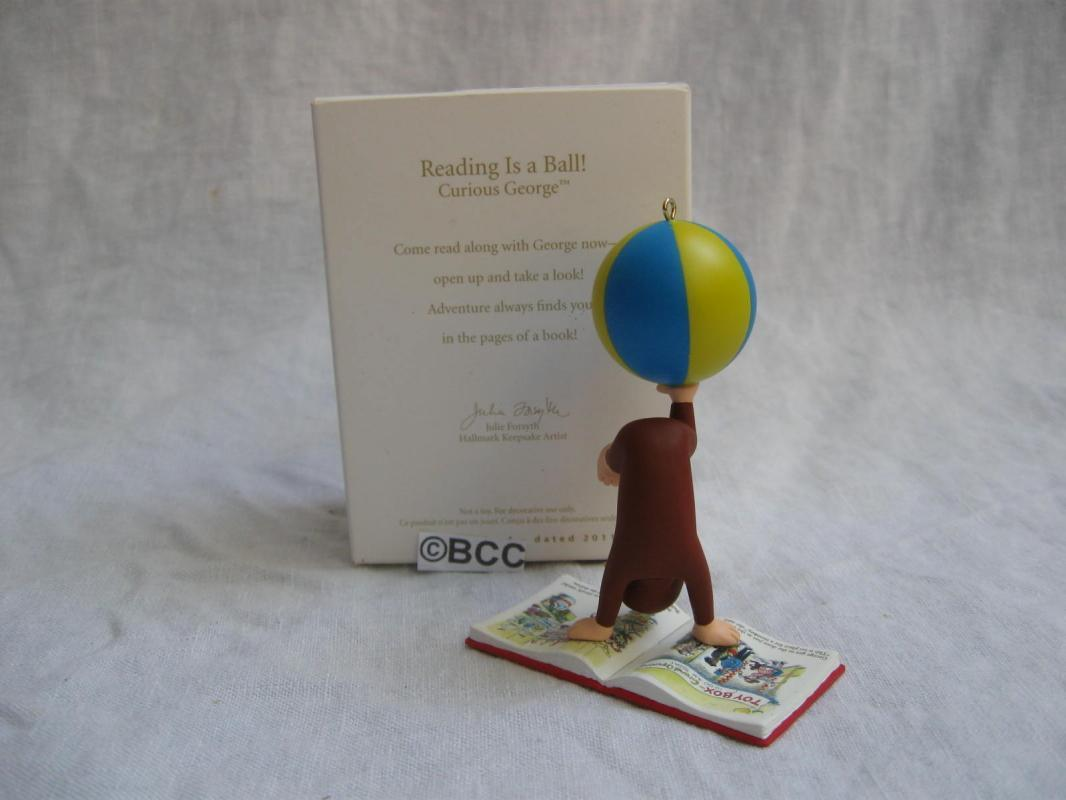 Hallmark 2011 Curious George REading Is a Ball Christmas Tree Ornamentrnaments