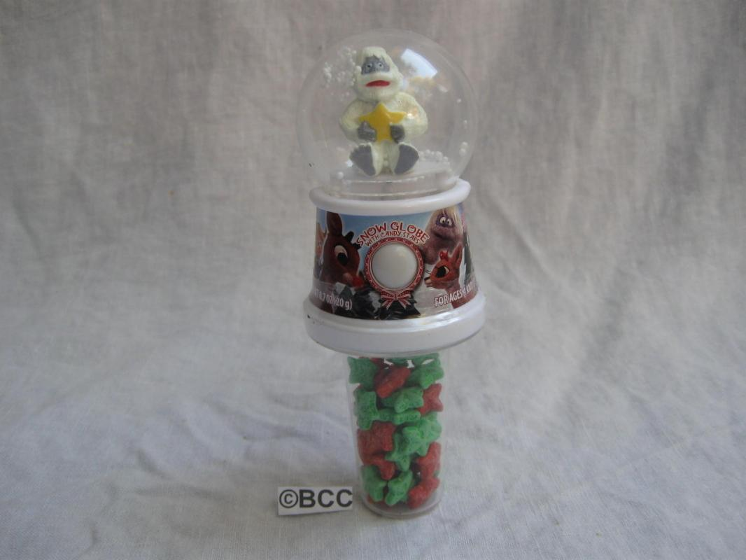 Bumble The Anominable Snowman Snowglobe with Candy Stars  Rudloph The Red Nosed Reindeer Character