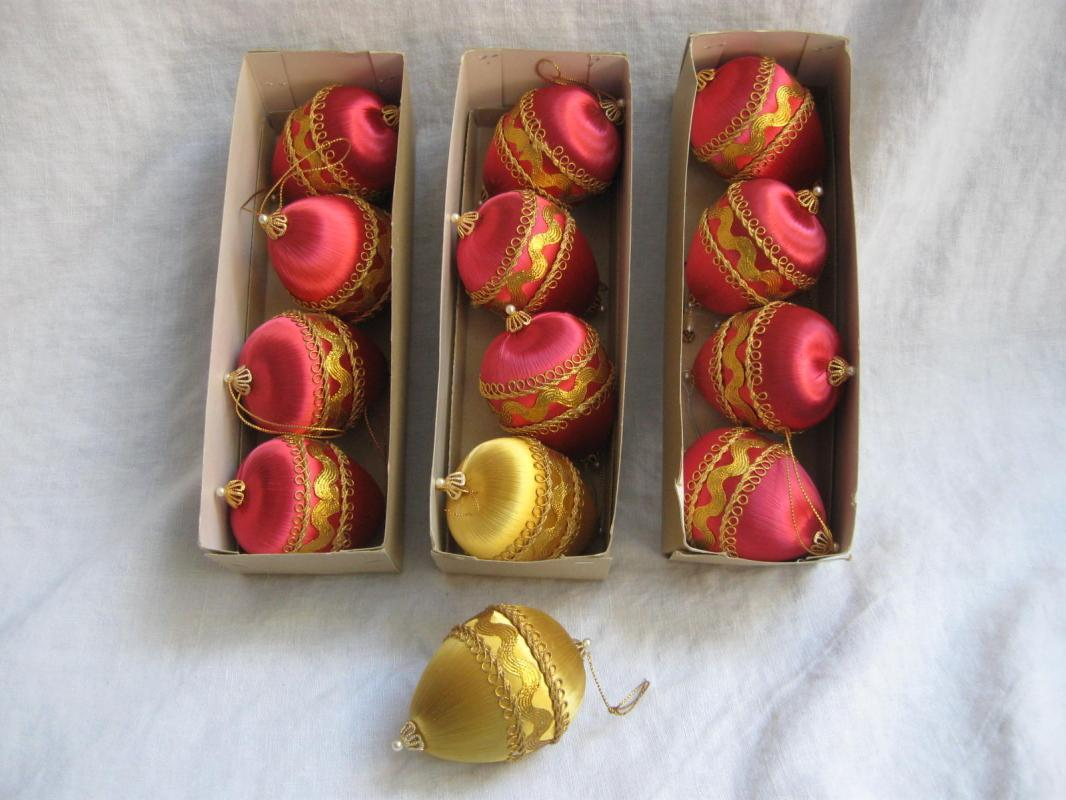 13 Vintage Pink & Gold Satin Teardrop Christmas Ornaments