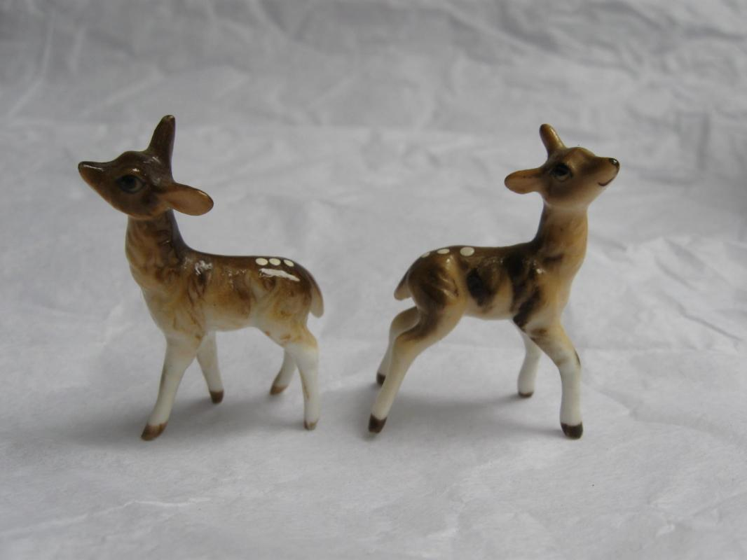 Two 2 Porcelain Fawn Baby Deer Miniature Figurines