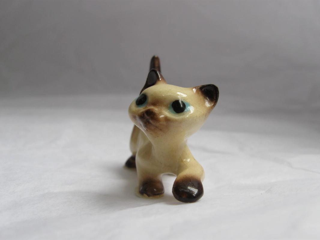 Miniature Porcelain Siamese Kitten Kitty Cat
