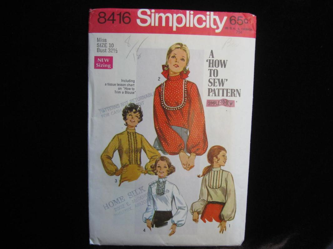 New Vintage Simplicity 8416 Misses Blouse Learn To Sew Sewing Pattern Size 10 1960's