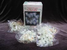 48 Luminous Glow In The Dark Cherubs Vintage Angels Feather Christmas Tree Ornaments In Original Box