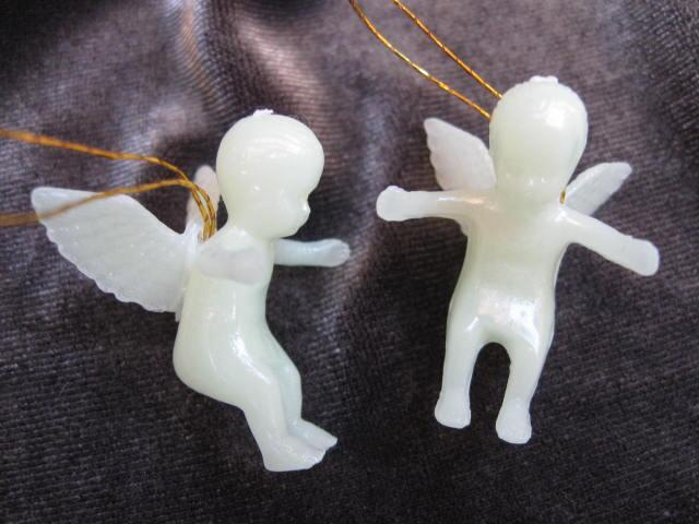 48 Luminous Glow In The Dark Cherubs Vintage Angels Feather Christmas Tree Ornaments In Original Box