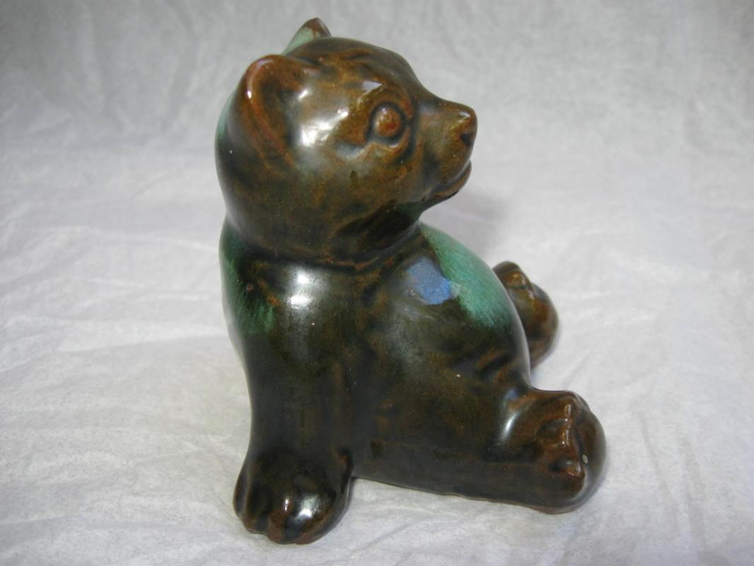 Vintage McMaster Canada Bear Figurine Ceramic Pottery Green Brown
