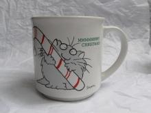 Vintage Grey Cat & Candy Cane MMMMMerry Merry Christmas Mug By Sandra Boynton