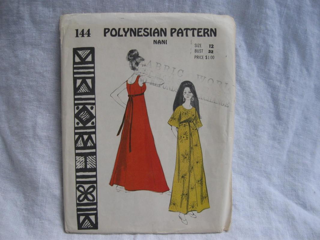 New Vintage 144 Nani  Hawaiian Hawaii  Polynesian Mumu Dress Sewing Pattern Size 12