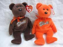 2 Ty Coco Presley Elvis Presley Orange & Brown Retired Beanie Baby Bear  Reese's Candy