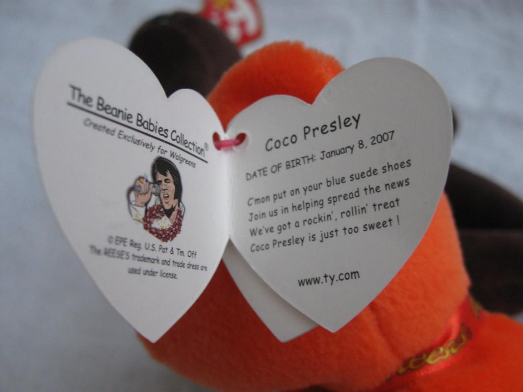 2 Ty Coco Presley Elvis Presley Orange & Brown Retired Beanie Baby Bear  Reese's Candy