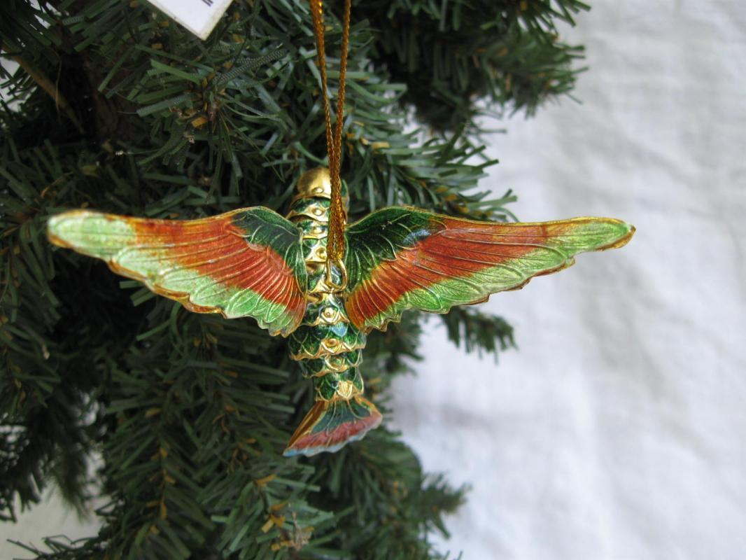 2 Humingbird Xmas Ornaments Glass Hand Blown With Bells & Metal Bird Moving Tail