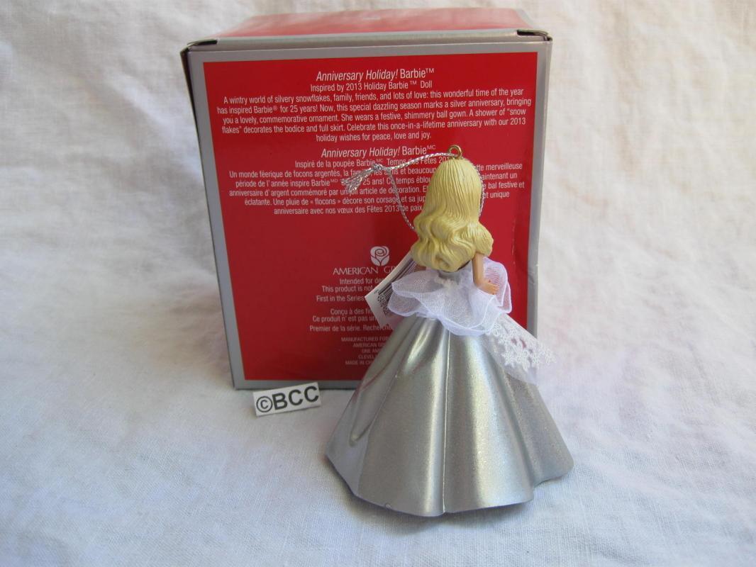 Carlton American Greetings Holiday Barbie 2013 25th Anniversary Ornament