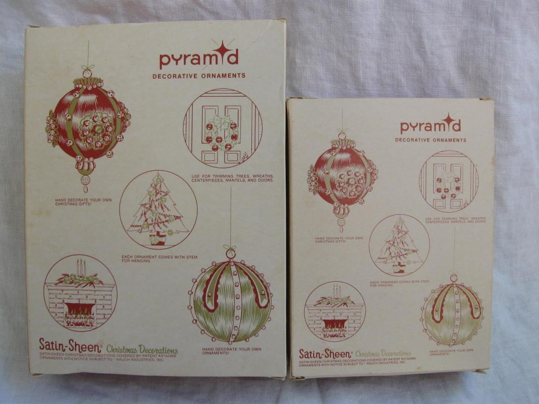 24 Vintage Pyramid Pink Satin Sheen Christmas Ornaments In Original Boxes 2 Sizes