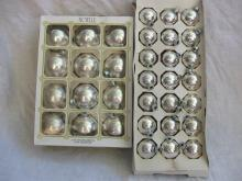 33 Vintage Silver Glass Shiny Brite Noelle USA Ornaments