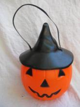 Vintage Empire JOL Blow Mold Removable Witch Hat Trick or Treat Pail Lighted