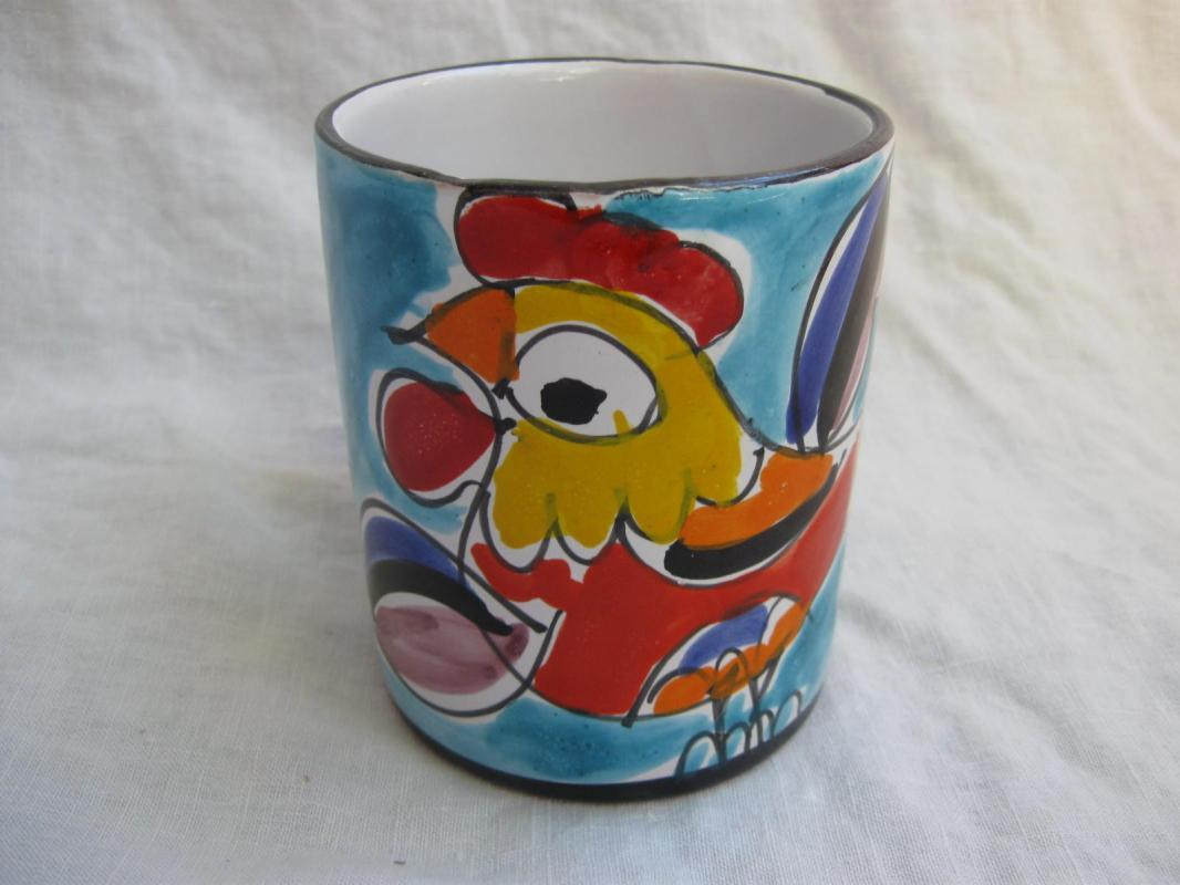 Colorful Abstract Rooster Coffee Mug Large Impressionist Art Rooster