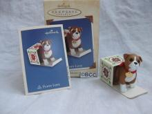 Hallmark 2003 Puppy Love #13 In Series Boxer  Dog Christmas Tree Ornament