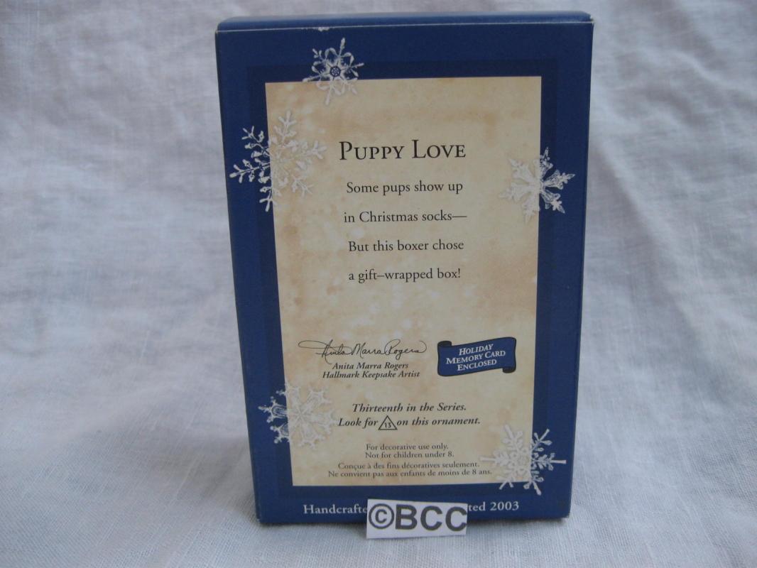 Hallmark 2003 Puppy Love #13 In Series Boxer  Dog Christmas Tree Ornament