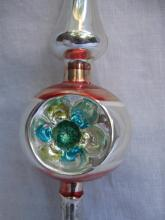 Vintage Mid Century Double Indent Glass Christmas Tree Topper Silver Pink & Blue