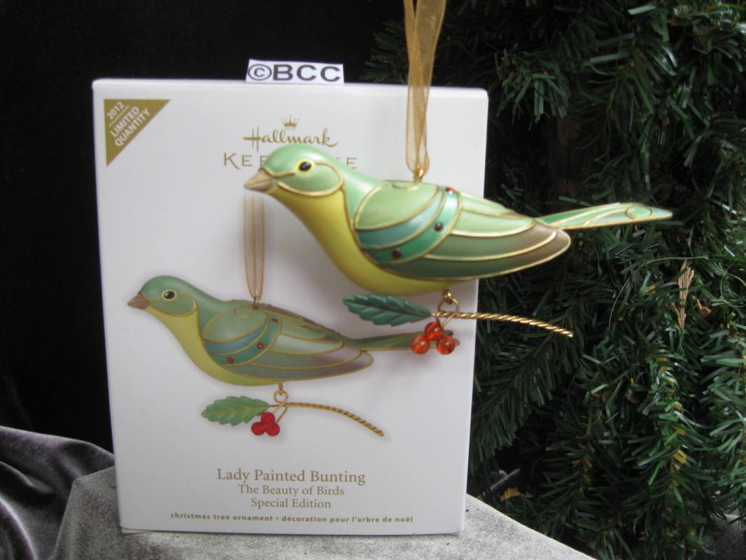 Hallmark 2012 LADY PAINTED BUNTING Beauty of Birds Series Limited Edition Christmas Tree Ornament
