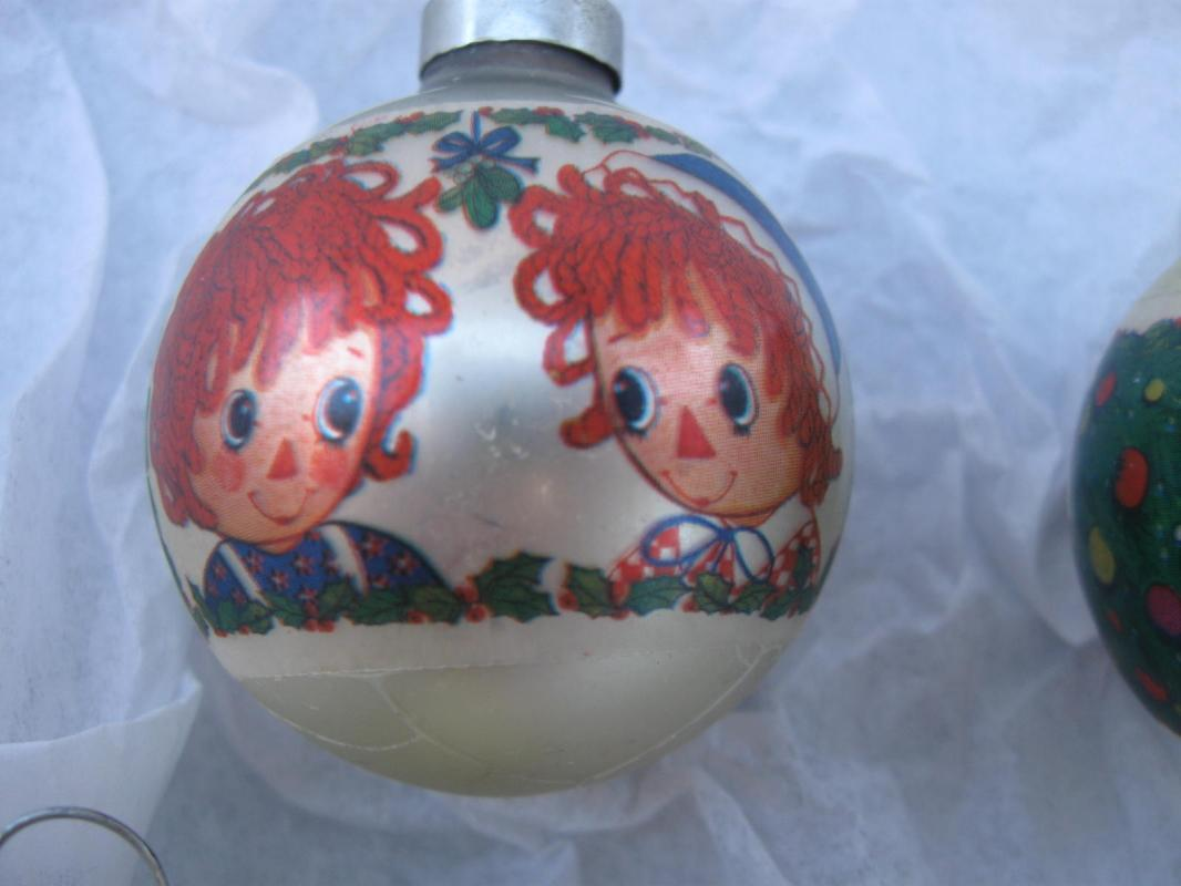 Four Vintage Raggedy Ann & Andy Glass Christmas Tree Ornaments 1970's