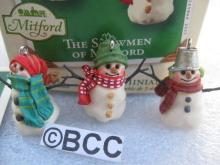 Hallmark 2003 The Snowmen Of Mitford Set of 3 Miniature Ornaments
