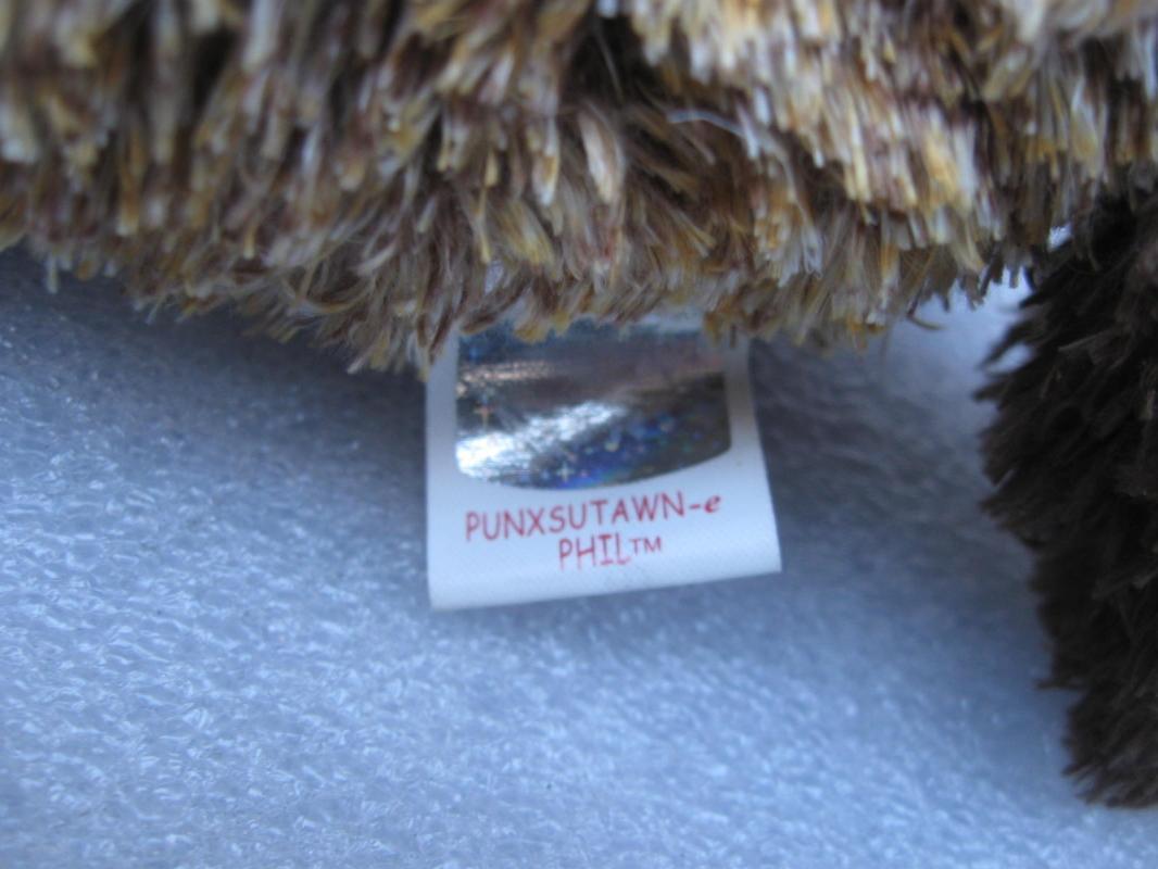 Ty Punxsutawn-e Punxsutawney Phil Groundhog 1st Beanie Baby 2002 2003 New