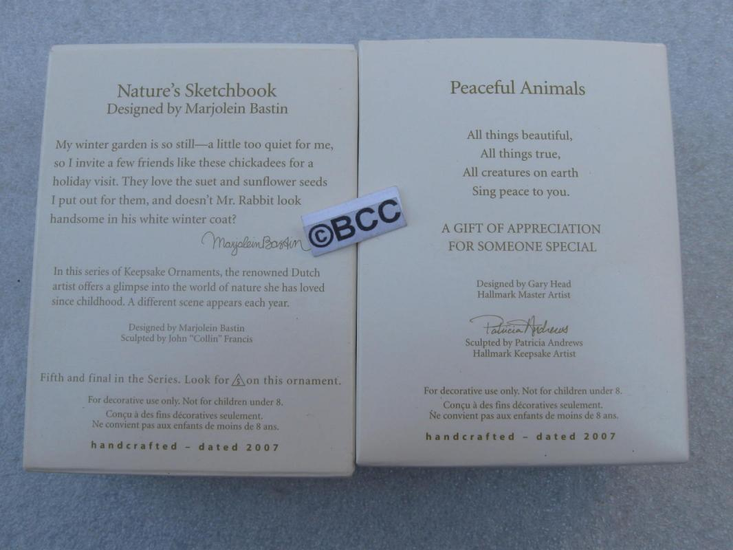 Hallmark 2007 Nature's Sketchbook & Peaceful Aminals VIP Lot Of 2 Ornaments