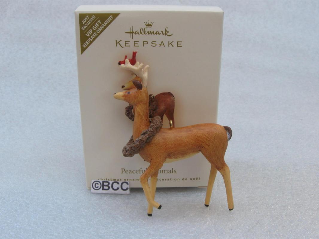 Hallmark 2007 Peaceful Animals Deer With Northern Cardinal Ornament