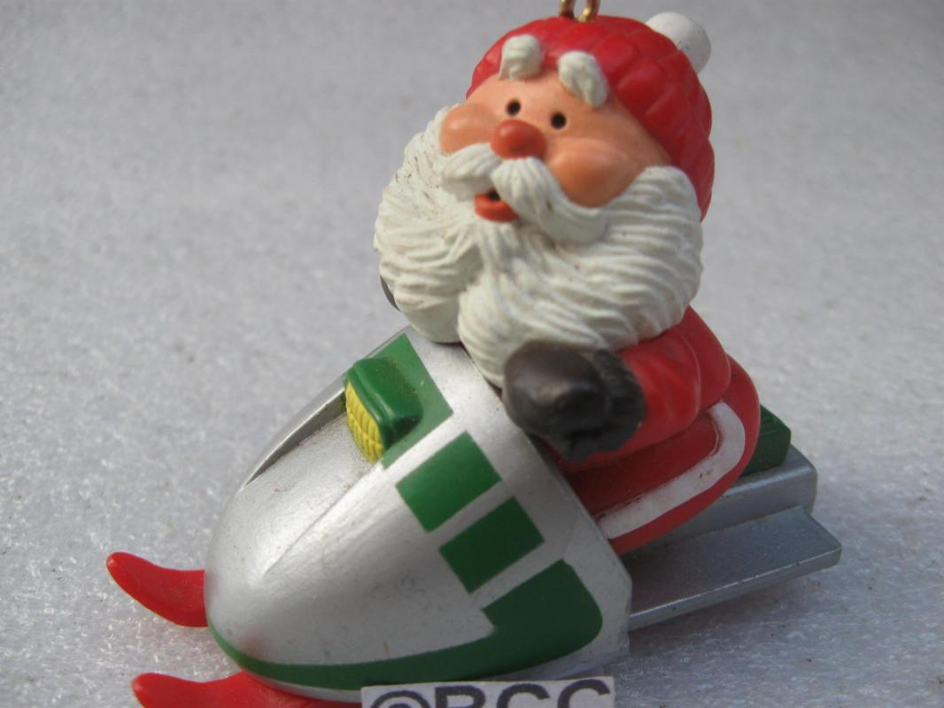 Hallmark 1984 Snowmobile Santa Christmas Tree Ornament