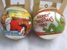 Hallmark 1980 & 1981 Miss Piggy & Kermit Christmas Tree Satin Ornaments