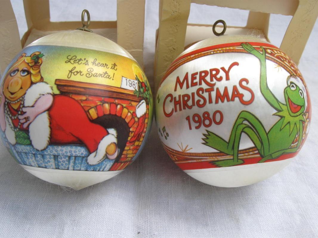 Hallmark 1980 & 1981 Miss Piggy & Kermit Christmas Tree Satin Ornaments