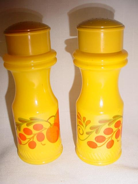 Avon Salt and Pepper Shakers Yellow with Cherries