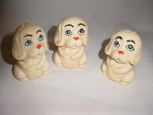 Vintage Anthropomorphic Sad Dog or Puppy  Salt  & Pepper Shakers + Toothpick Holder 3 Piece Set