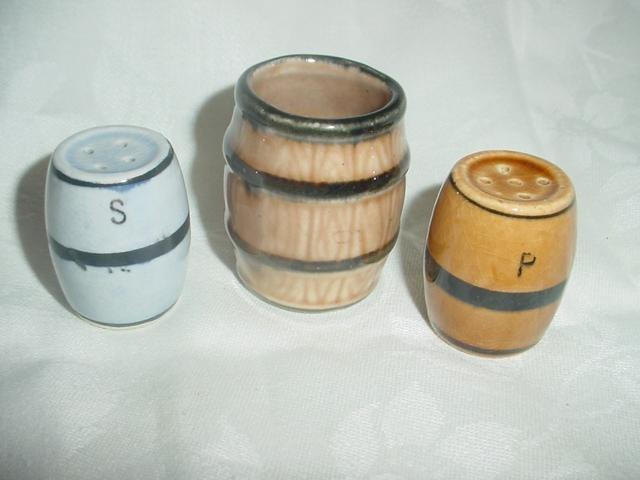 Japan Barrel Salt & Pepper Shakers with Toothpick Holder 3 Piece Set