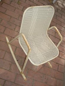Child's Metal Wicker Rocking Chair