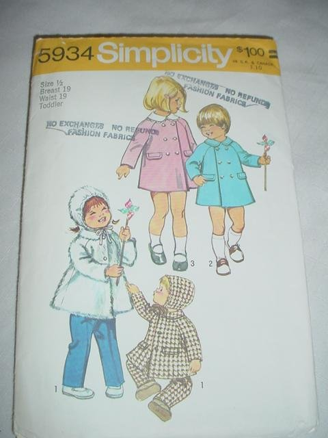 New Vintage Simplicity 6418  Toddlers' Single and Double Breasted Coat Sewing Pattern 1970's