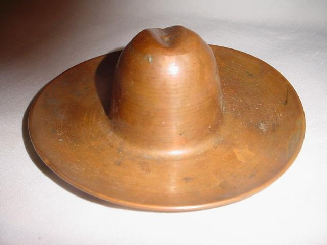 Vintage  Western Copper Cowboy Hat Ashtray