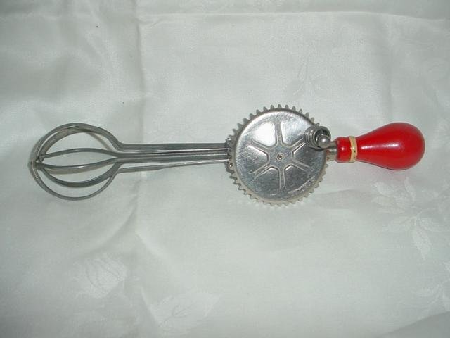 Vintage Androck Egg Beater Red Wood Handle