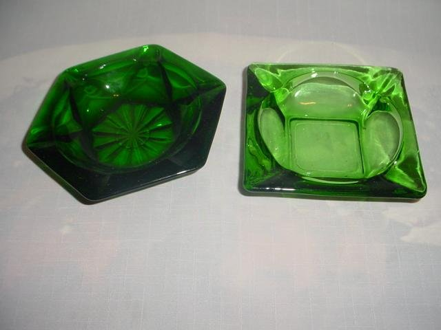 2 Forest Green Ashtrays -1 marked Fire King  Anchor Hocking