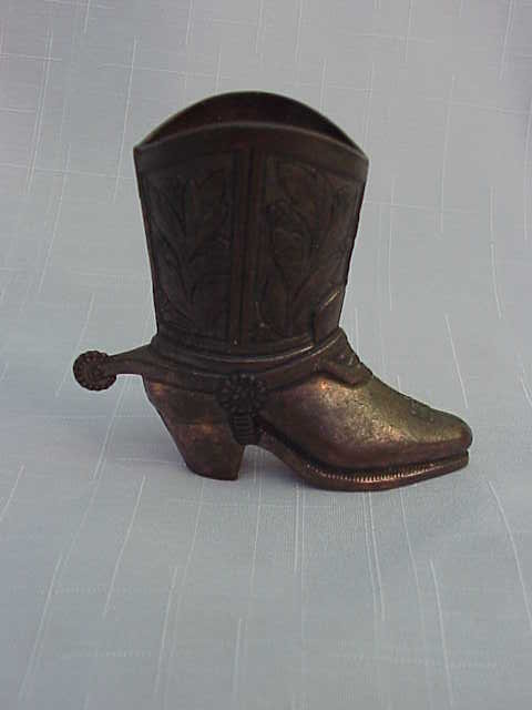 Metal Western Boot Toothpick Holder