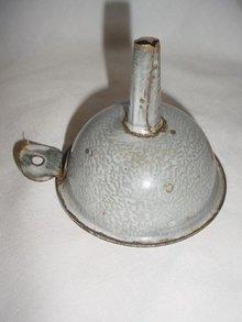 Vintage Molten Gray Enamelware Funnel Enamel Ware