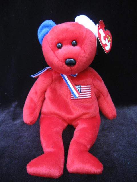 Ty  Red America Bear Patriotic Beanie Baby
