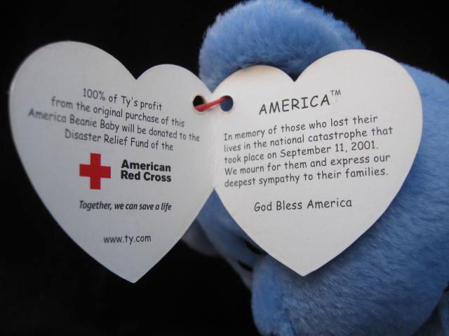 Ty  Blue America Bear Patriotic Beanie Baby