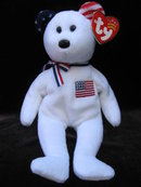 Ty  White America Bear Patriotic  Beanie Baby