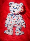 Ty Beanie Baby Red, White & Blue Bear