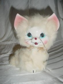 Porcelain Fur White Smiling Kitty Cat